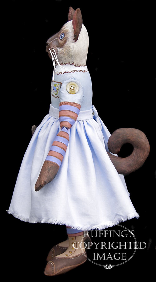 Bluebell and Bridget, Original One-of-a-kind Siamese Cat and Kitten Folk Art Dolls by Max Bailey