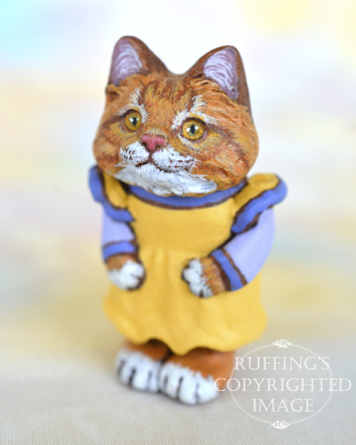 Brandy, Original One-of-a-kind Dollhouse-sized Ginger Tabby Kitten by Max Bailey