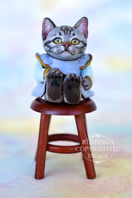Brenda, miniature American Shorthair silver tabby cat art doll, handmade original, one-of-a-kind kitten by artist Max Bailey