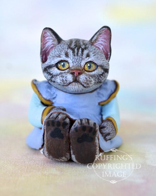 Brenda, Original One-of-a-kind Dollhouse-sized American Shorthair kitten art doll by Max Bailey
