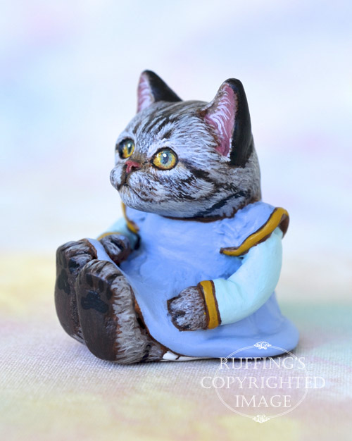 Brenda, miniature American Shorthair silver tabby cat art doll, handmade original, one-of-a-kind kitten by artist Max Bailey