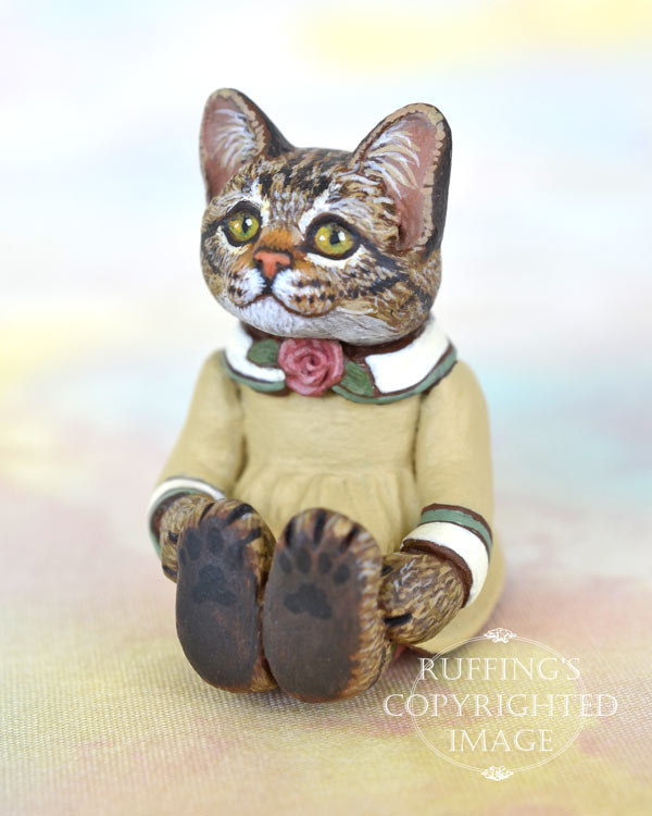 Brittany, miniature tabby cat art doll, handmade original, one-of-a-kind kitten by artist Max Bailey