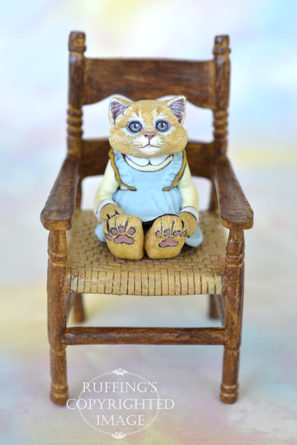 Buffie, miniature orange cat art doll, handmade original, one-of-a-kind kitten by artist Max Bailey