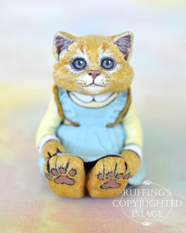 Buffie, miniature orange cat art doll, handmade original, one-of-a-kind kitten by artist Max Bailey
