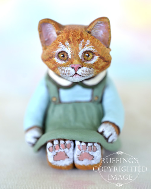 Button, miniature ginger tabby cat art doll, handmade original, one-of-a-kind kitten by artist Max Bailey