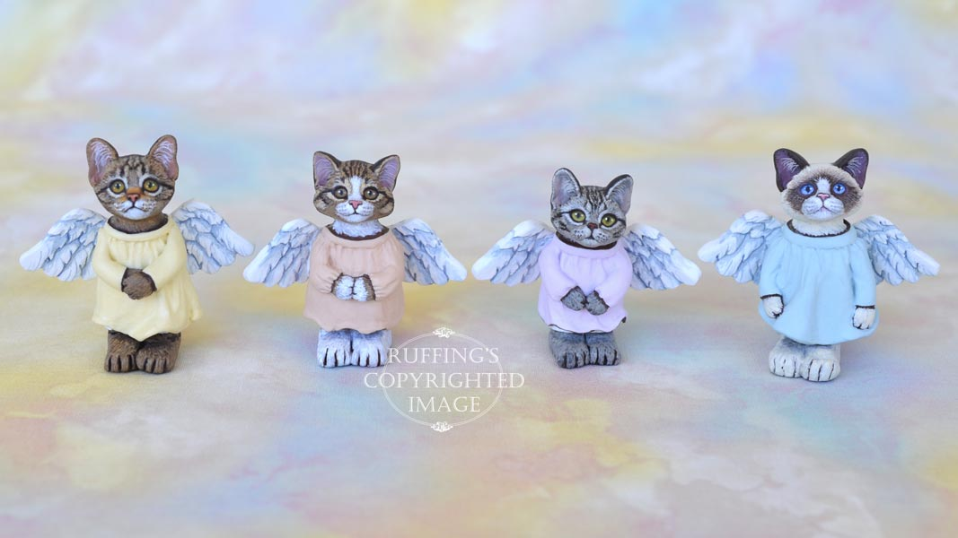 Callinda, miniature angel bi-color Ragdoll cat art doll, handmade original, one-of-a-kind kitten by artist Max Bailey