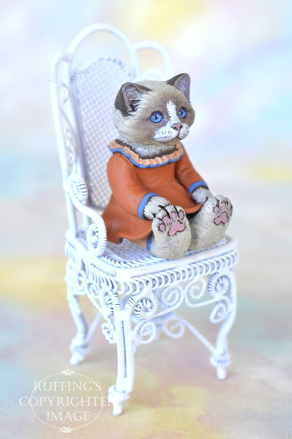 Calypso, miniature Ragdoll cat art doll, handmade original, one-of-a-kind kitten by artist Max Bailey