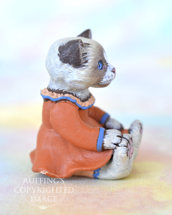 Calypso, miniature Ragdoll cat art doll, handmade original, one-of-a-kind kitten by artist Max Bailey