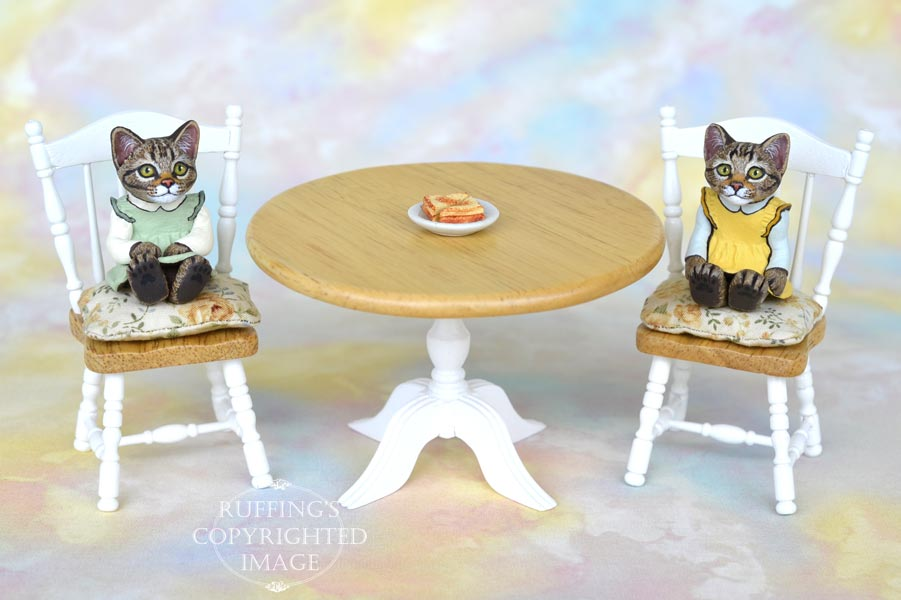 Carly and Cora, miniature tabby cat art dolls, handmade original, one-of-a-kind kittens by artist Max Bailey