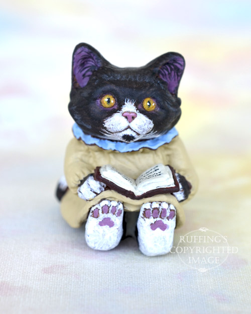 Cassandra, Original One-of-a-kind Dollhouse-sized Black-and-white Tuxedo Kitten by Max Bailey
