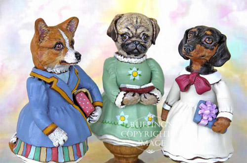 Cassie Corgi, Tillie the Pug Dog, and Dinah the Dachshund, Original One-of-a-kind Folk Art Dog Doll Figurines by Max Bailey
