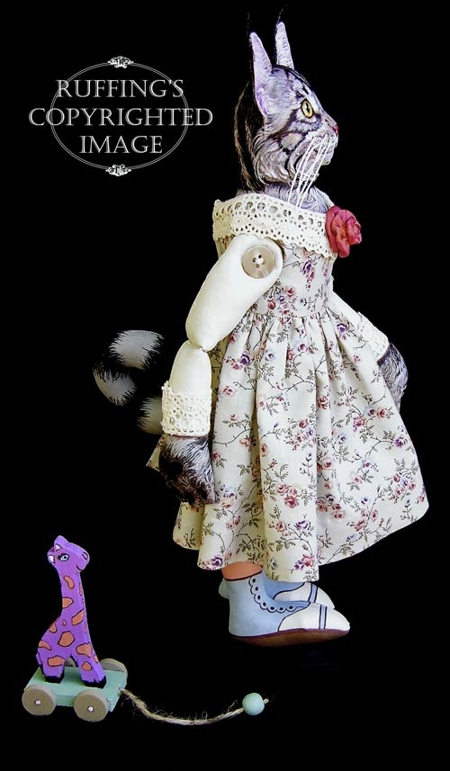 Catarina and Harold, Original One-of-a-kind Maine Coon Cat and Giraffe Folk Art Dolls by Max Bailey