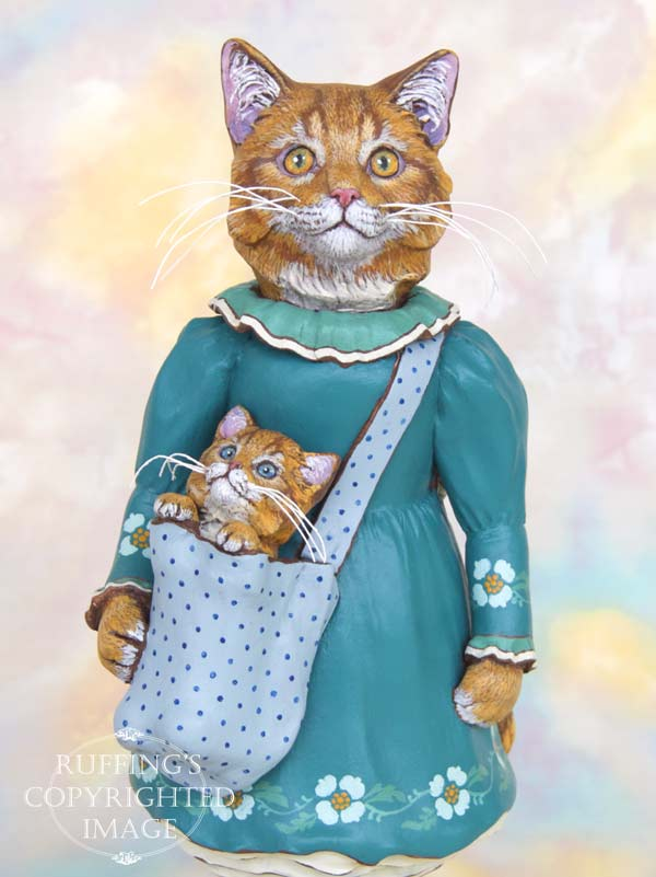 Cat art doll figurine, original one-of-a-kind beautiful ginger tabby Maine Coon with her adorable kitten, Catherine and Chester by Max Bailey