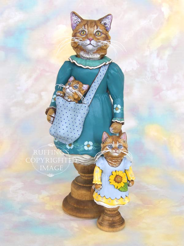 Catherine and Chester, Ginger Tabby Maine Coon Original One-of-a-kind Art Doll Figurine by Max Bailey
