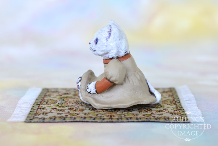 Catherine, Original One-of-a-kind Dollhouse-sized White Kitten Art Doll by Max Bailey