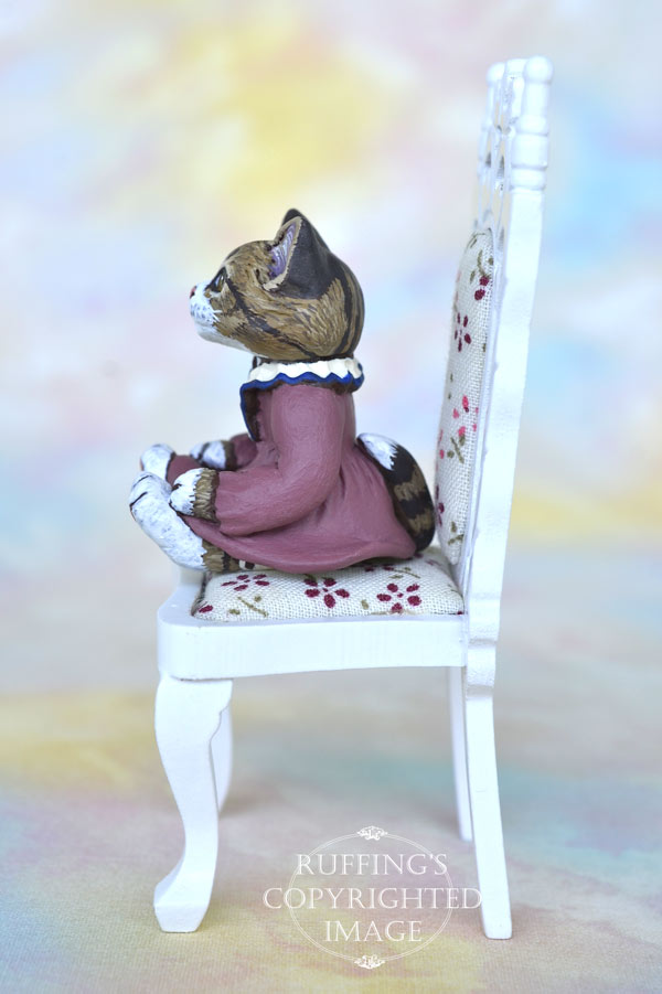 Cathryn, miniature Norwegian Forest Cat art doll, handmade original, one-of-a-kind kitten by artist Max Bailey