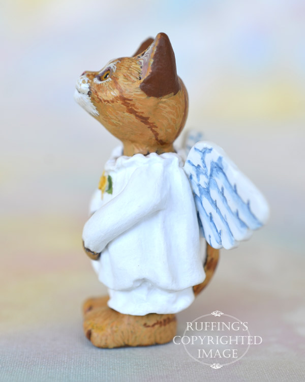 Celeste, miniature ginger tabby cat angel art doll, handmade original, one-of-a-kind kitten by artist Max Bailey