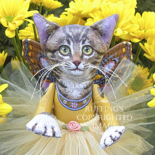 Celeste the Pixie Kitten, Original One-of-a-kind Folk Art Tabby Cat Fairy Doll by Max Bailey and Elizabeth Ruffing