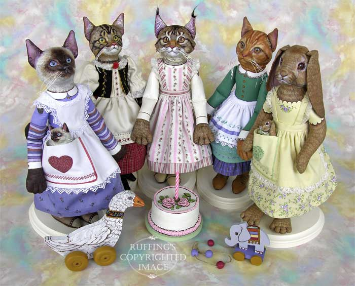 Loretta and Lulu, Heidi and Helga, Chelsea the Maine Coon Cat, Emily and Edwin, Beatrice and Beulah, Original One-of-a-kind Folk Art Dolls by Max Bailey and Elizabeth Ruffing
