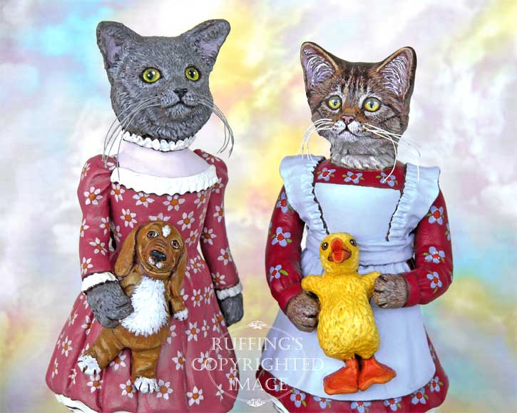 Christy and Quackle and Natasha and Ivan, Original One-of-a-kind Folk Art Cat Doll Figurines by Max Bailey