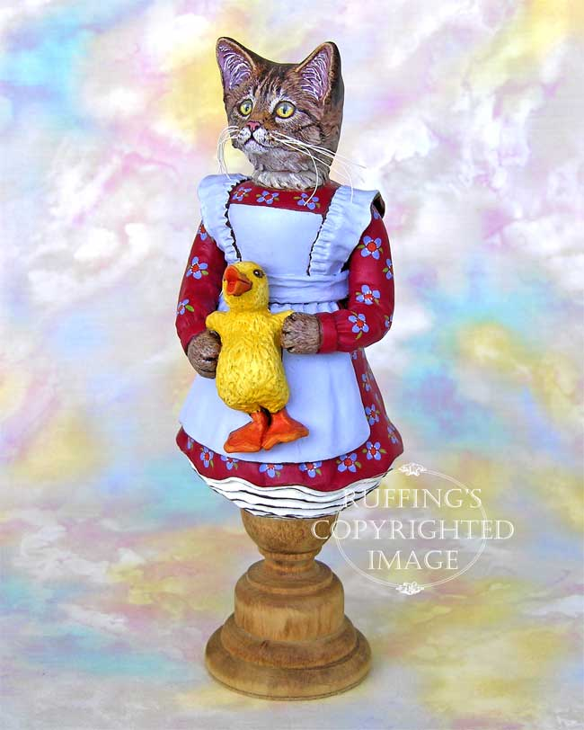 Christy and Quackle, Original One-of-a-kind Tabby Cat and Duck Folk Art Doll Figurine by Max Bailey