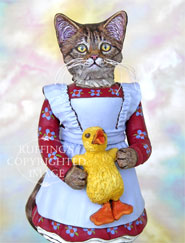 Christy and Quackle, Original One-of-a-kind Tabby Cat Art Doll Figurine by Max Bailey