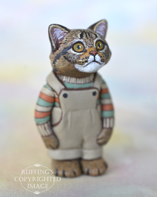 Clancy, miniature Maine Coon cat art doll, handmade original, one-of-a-kind kitten by artist Max Bailey