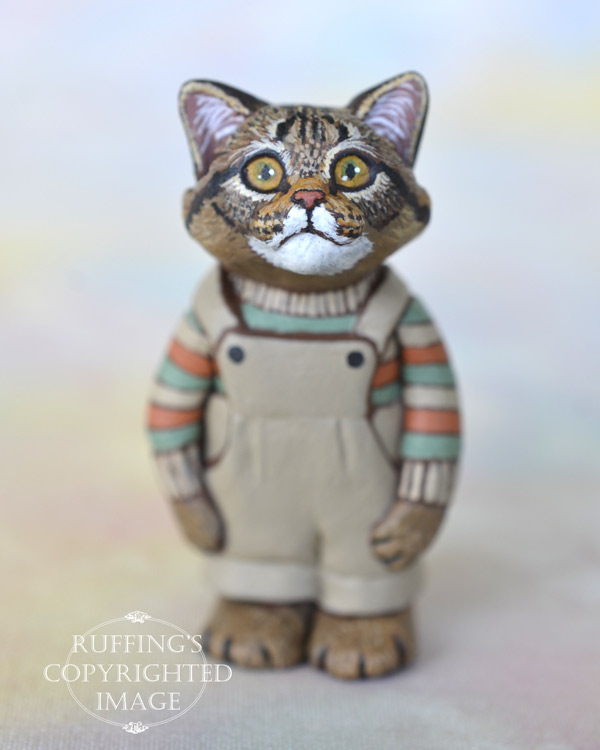 Clancy, miniature tabby Maine Coon cat art doll, handmade original, one-of-a-kind kitten by artist Max Bailey