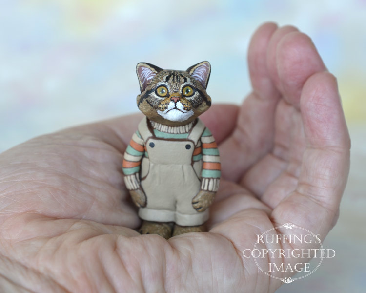 Clancy, miniature tabby Maine Coon cat art doll, handmade original, one-of-a-kind kitten by artist Max Bailey