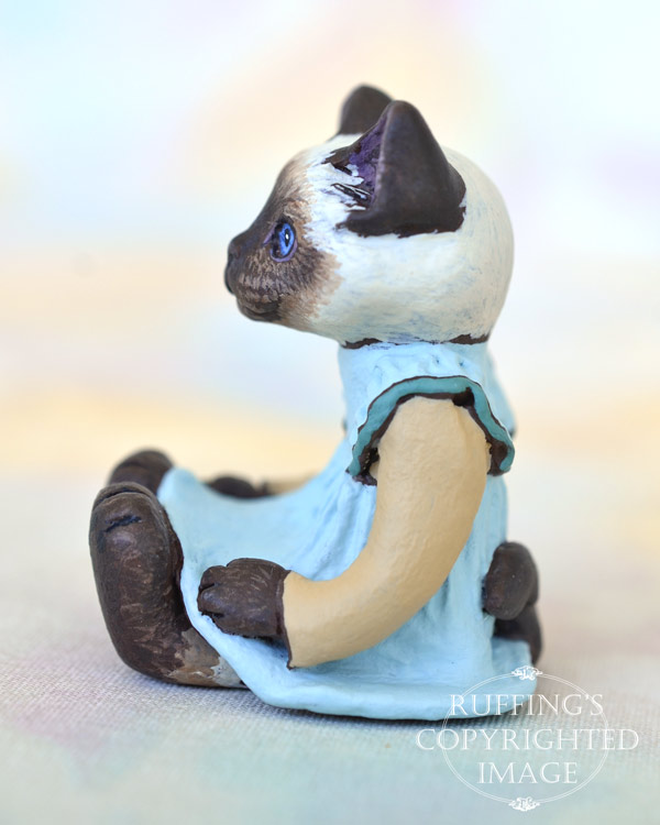 Claudette, miniature Ragdoll cat art doll, handmade original, one-of-a-kind kitten by artist Max Bailey
