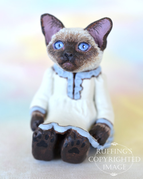 Claudette, miniature Siamese cat art doll, handmade original, one-of-a-kind kitten by artist Max Bailey