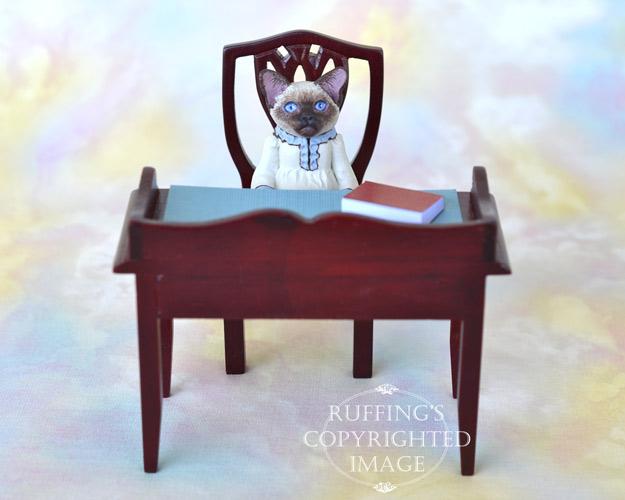 Claudette, miniature Siamese cat art doll, handmade original, one-of-a-kind kitten by artist Max Bailey