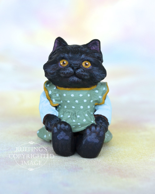 Clementine, Original One-of-a-kind Dollhouse-sized Black Kitten Art Doll by Max Bailey