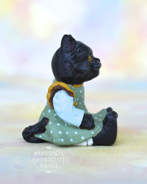 Clementine, Original One-of-a-kind Dollhouse-sized Black Kitten by Max Bailey