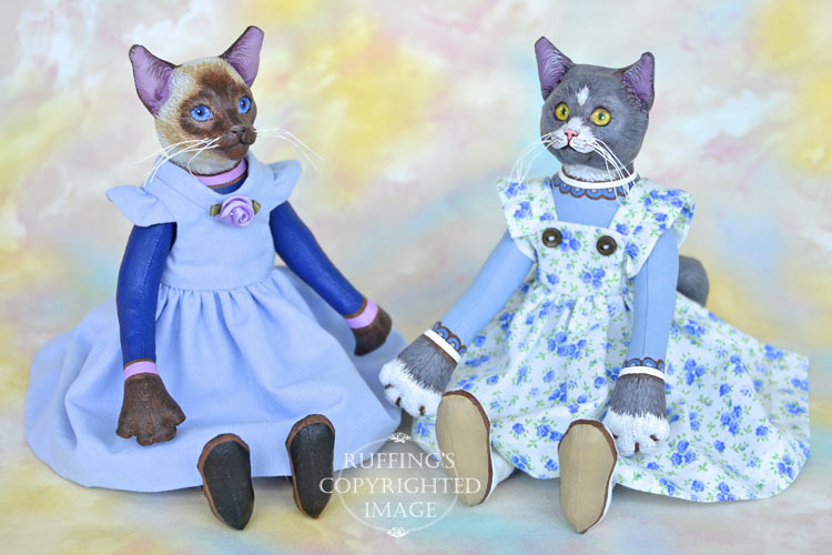 Ida, Original One-of-a-kind Siamese and Gray-and-white Cat Art Dolls by Max Bailey