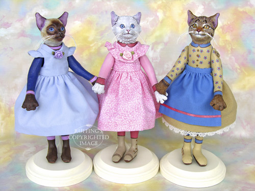 Cleo, Lillie, and Minnie, Original One-of-a-kind Cat Art Dolls by Max Bailey