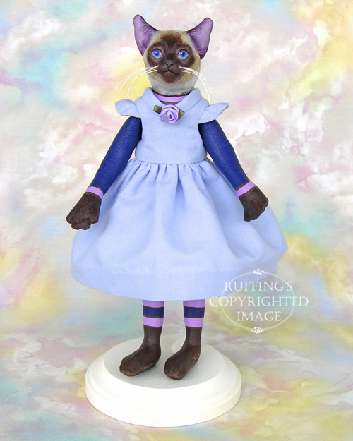 Cleo the Siamese Cat, Original One-of-a-kind Folk Art Doll by Max Bailey