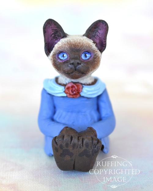 Coco, miniature Siamese cat art doll, handmade original, one-of-a-kind kitten by artist Max Bailey