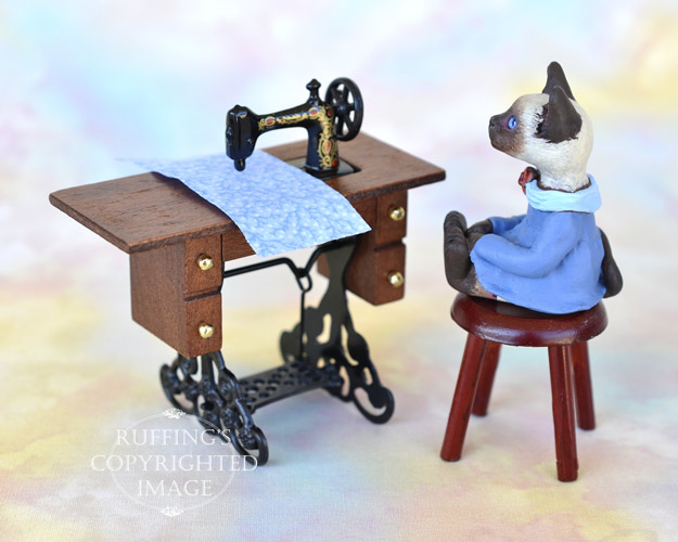 Coco, miniature Siamese cat art doll, handmade original, one-of-a-kind kitten by artist Max Bailey