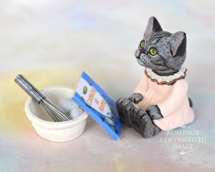 Colette, miniature silver tabby American Shorthair cat art doll, handmade original, one-of-a-kind kitten by artist Max Bailey