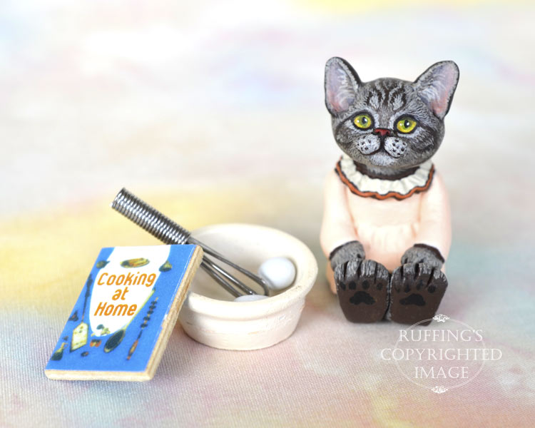 Colette, miniature silver tabby American Shorthair cat art doll, handmade original, one-of-a-kind kitten by artist Max Bailey