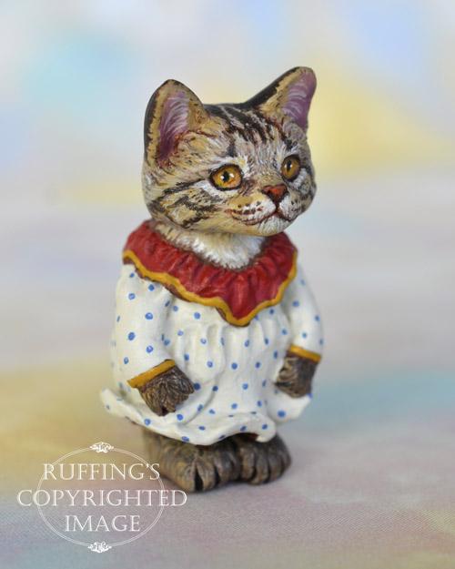 Colleen, miniature Maine Coon cat art doll, handmade original, one-of-a-kind kitten by artist Max Bailey