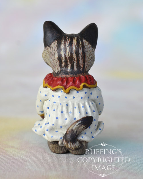 Colleen, miniature Maine Coon cat art doll, handmade original, one-of-a-kind kitten by artist Max Bailey