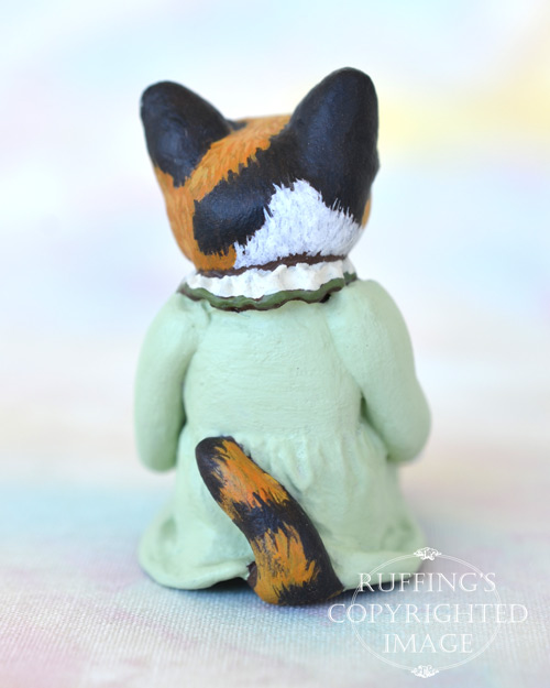 Coralee, miniature calico cat art doll, handmade original, one-of-a-kind kitten by artist Max Bailey