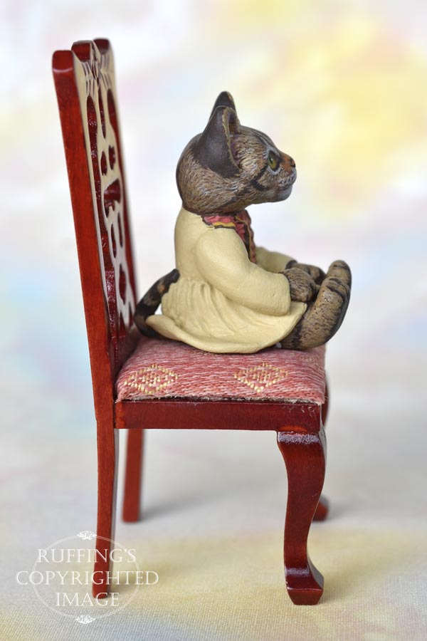 Corinne, miniature tabby cat art doll, handmade original, one-of-a-kind kitten by artist Max Bailey