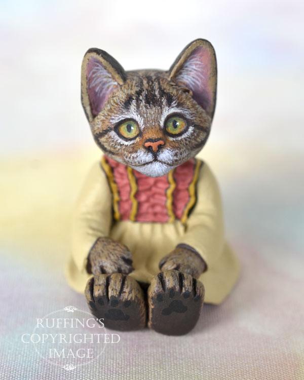 Corinne, miniature tabby cat art doll, handmade original, one-of-a-kind kitten by artist Max Bailey