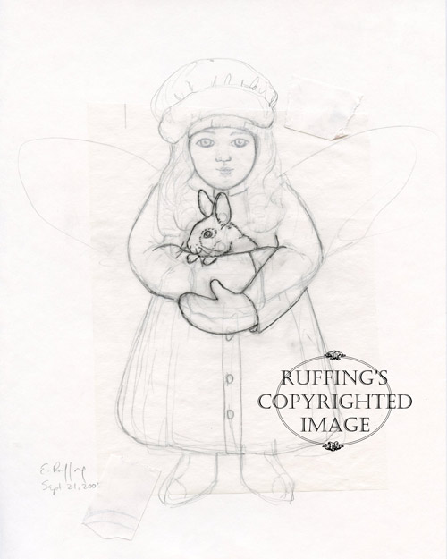 Cottontail Charlotte angel sketch by Elizabeth Ruffing