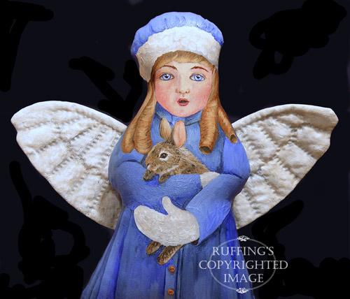 Cottontail Charlotte, Original One-of-kind Folk Art Angel Doll by Elizabeth Ruffing