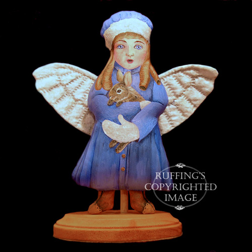 Cottontail Charlotte, Original One-of-a-kind Folk Art Angel Doll by Elizabeth Ruffing