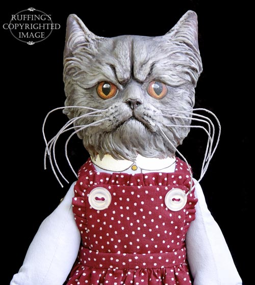 Crabby Alice, Original One-of-a-kind Blue Persian Folk Art Cat Doll by Max Bailey